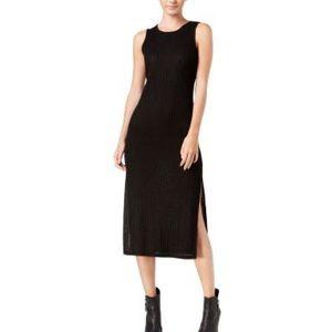 Kensie Black Ribbed Midi Dress with Side Slits | S